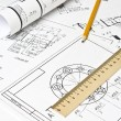 The engineering drawing — Stock Photo