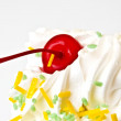 Slice of birthday cake — Stock Photo