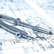 Engineering blueprint and tools - Stock Photo