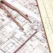 Royalty-Free Stock Photo: Engineering blueprint and tools