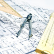 Engineering blueprint and tools — Stock Photo