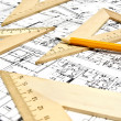 Stock Photo: Engineering blueprint and tools