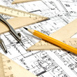 Engineering blueprint and tools — Stock Photo #5361912