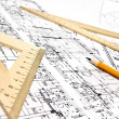 Engineering blueprint and tools — Stock Photo #5361920
