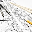 Engineering blueprint and tools — Stock Photo #5361922