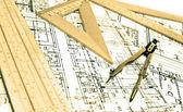 Engineering blueprint and tools — Stock Photo