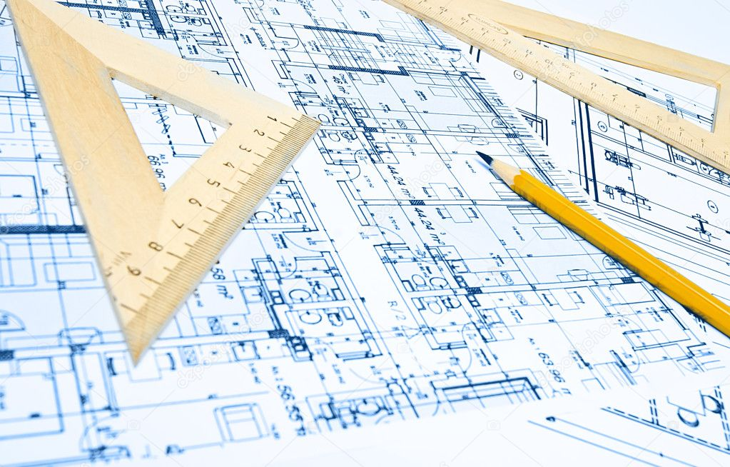Engineering blueprint and tools — Stock Photo #5361918