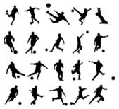 20 soccer poses silhouette — Stock Photo