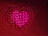 Um coração brilhante em um coração de padrões — Fotografia Stock