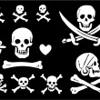 A set of pirate flags, skulls and bones - Stock Vector