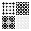 Stock Vector: Set of vector based decorative seventies patterns