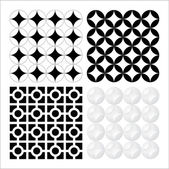A set of vector based decorative seventies patterns — Stock Vector