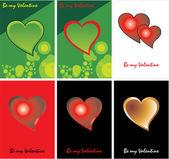 Een set van schaalbare vector gebaseerde valentines dag kaart ontwerpen — Stockvector