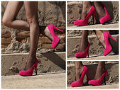 Woman in Black Fishnet and Pink Heels — Stock Photo