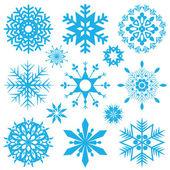 Copos de nieve azules — Vector de stock