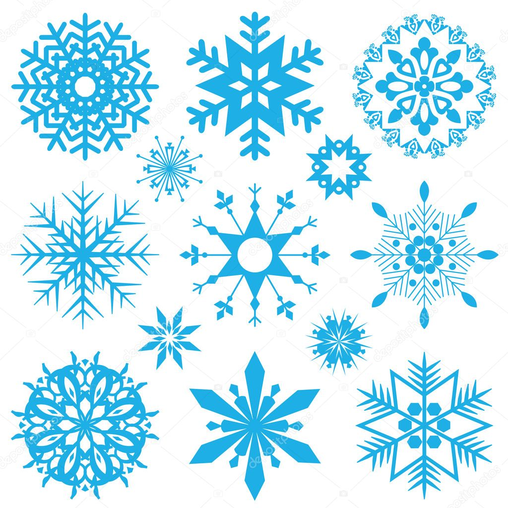 Set of blue snowflakes. Vector image. — Stock Vector #4277543