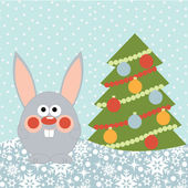 New Year card with cute happy rabbit — Stock Vector