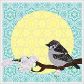 Bird on a plum tree — Stock Vector