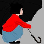 Little girl with umbrella — Stock Vector