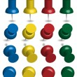 Color Pushpins - Stockvectorbeeld