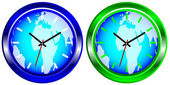 Wall Clock With Map of World — Stockvektor