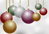 Christmas Balls on Silver Backround — Stock Vector
