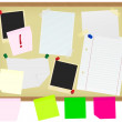Stationery on Noticeboard — Stock Vector