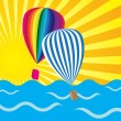 Royalty-Free Stock Vector Image: Sun Rays, Ocean and Hot Air Balloons