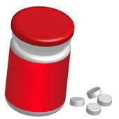 Botella de píldoras — Vector de stock