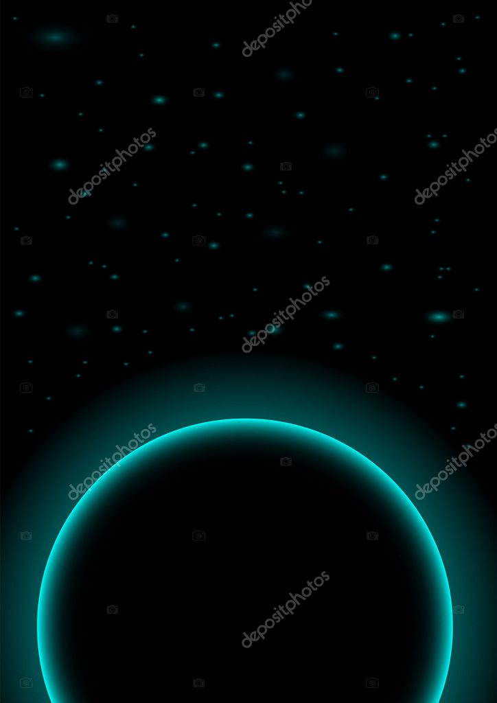 Astral Background - Dark Planet on Black Background  Vettoriali Stock  #4345292