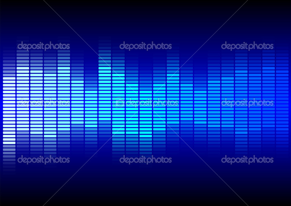 Abstract Background - Equalizer in Shades of Blue on Black Background  Stock Vector #4346401
