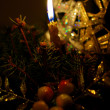 Lighted christmas candle — Photo