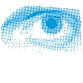 Blue Halftone Eye — Stock Vector