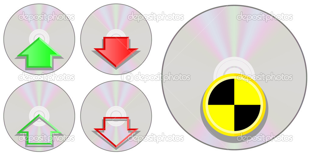 Different Compact Disc Icons Isolated on White Background  Stock Vector #4578648