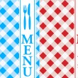 Menu Card - Red and Blue Gingham — Stock Vector