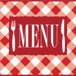 Menu Card - Red Gingham - Stock Vector