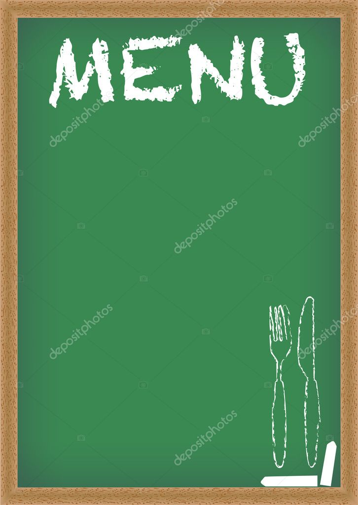 Menu Card Chalkboard - Green Chalkboard With Menu Sighn  Stock Vector #4800858