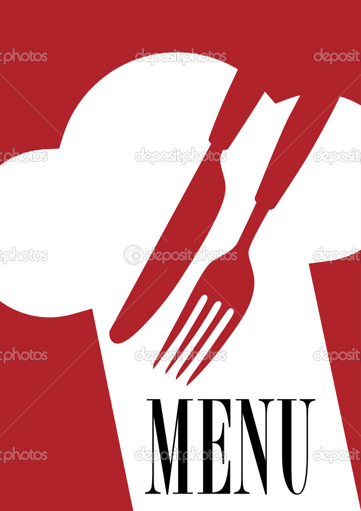 Menu Card Background -  Cutlery, Chef's Hat and Menu Sign on Dark Red Background  Stock Vector #4801265