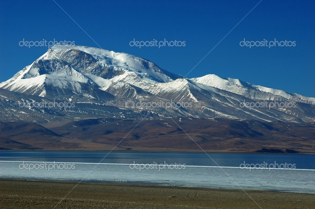Landscape of snow-covered mountains and blue lake  Stock Photo #4372387