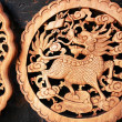 Wooden carving of dragon — Stockfoto