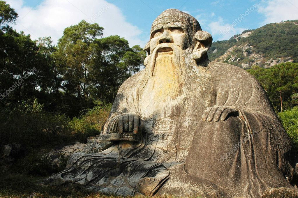 Huge stone statue of the ancestor of Taoism named Laozi in Fujian,China  Stock Photo #5139445