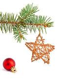 Christmas toys on the pine-tree — Stock Photo