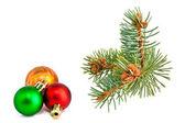 Christmas balls with pine-tree — Stock Photo