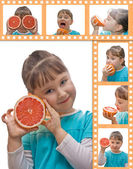 Little girl and grapefruit — Stock Photo