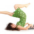 The flexible beautiful girl with the laptop on a white background — Stock Photo #4271050