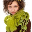Beautiful girl with a scarf and mittens — Stock Photo