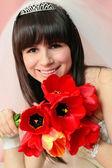 Bride with tulips — Stock Photo