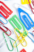 Staples for school colored — Stock Photo