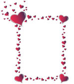 Red amaranth hearts frame — Stock Photo