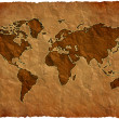 Stock Photo: Crumple paper world map